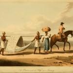 Ein Bauer mit seiner Frau auf einer Reise