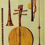 Chinesische Instrumente mit Mondgitarre
