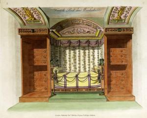 Französisches Bett mit Schrank (um 1800)