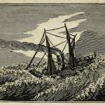 Dampfschiff in Wellen