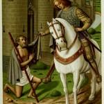 Sankt Martin teilt den Mantel - 15. Jahrhundert - Stundenbuch der Anne de Bretagne