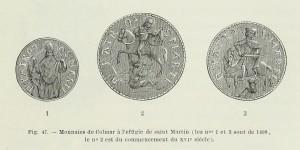 Sankt Martin, Münzen aus Colmar, 1499 / Anfang des 16. Jahrhunderts