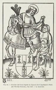 Sankt Martin, Holzschnitt, gedruckt in Paris 1540