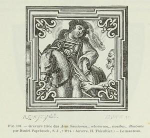 """Sankt Martin, Illustration aus """"Acta Sanctorum... selectorum... iconibus... illustrata"""" von Daniel Papebroch 17./18. Jh."""
