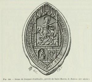 Siegel des Jacques d'Arfeuille, Probst von Saint-Martin de Rodera (15. Jh.)