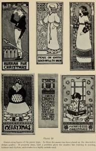 Weihnachtskarten im Poster-Design - Jugendstil